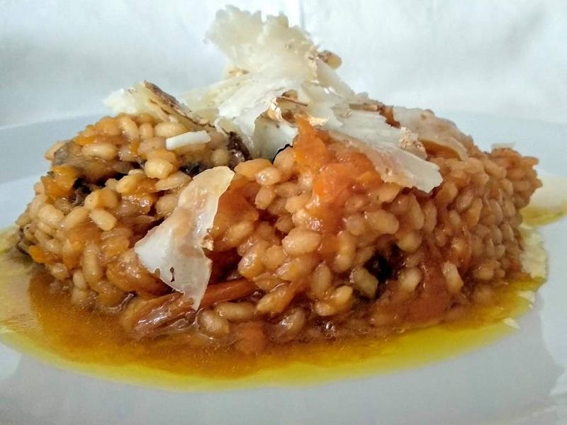Risotto de carabassa i camagrocs amb vermut